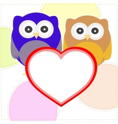 owls with valentines vector image vector image