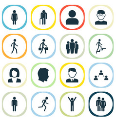people icons set collection of gentleman happy vector image