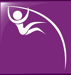 Pole vault icon on purple background vector
