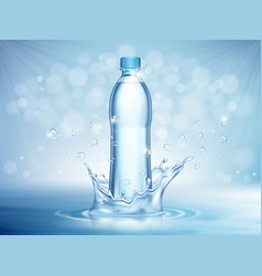 Pure mineral water plastic bottle in middle vector