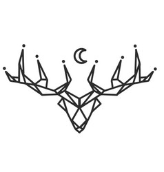 reindeer moon tattoo design image vector image