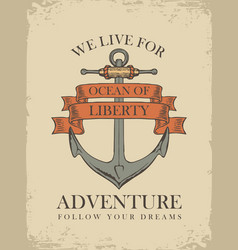 Retro travel banner with ship anchor vector