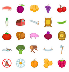 rural economy icons set cartoon style vector image