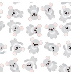 Seamless pattern - Funny cute koala on white vector image