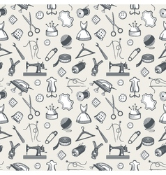 seamless pattern with sewing equipment vector image