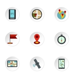 Search territory icons set flat style vector