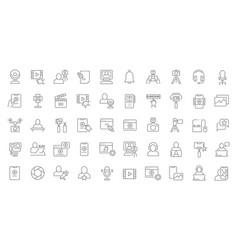 set line icons blogging vector image