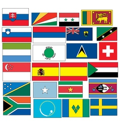 Set of 24 flags countries started with s vector