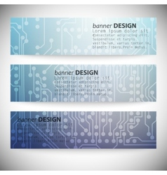 Set of horizontal banners Microchip backgrounds vector image