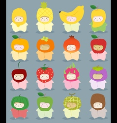 Set of kids in cute fruit costumes vector