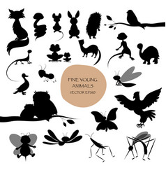silhouettes of cute animals isolated on white vector image
