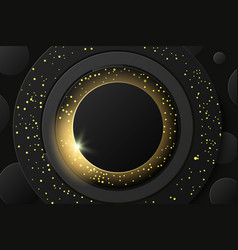 solar eclipse bstract black golden vector image