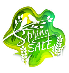 spring sale layered paper cut style vector image