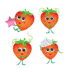 Strawberry character on a white background vector