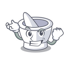 Successful mortar character cartoon style vector