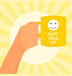 sunny smile day concept background flat style vector image