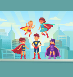 superhero kids team comic hero kid in super vector image
