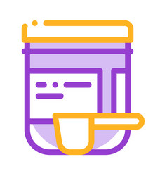 Supplements bottle and scoop thin line icon vector