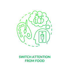 Switch attention from food dark green concept icon vector