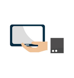 Tablet technology business in the hand vector