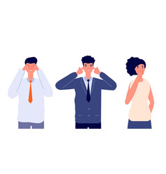 Three wise characters ignore or avoid business vector