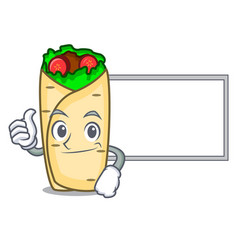 thumbs up with board burrito character cartoon vector image