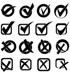 Tick cross icons set vector image