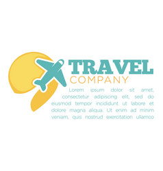 travel company promotional banner with airplane vector image