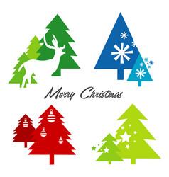 tree merry christmas deer snowflake icon vector image