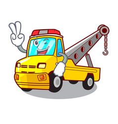 two finger truck tow the vehicle with mascot vector image