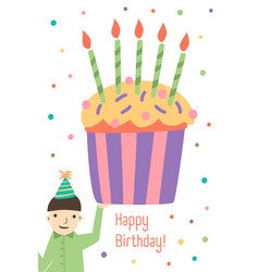vertical greeting card template with happy vector image