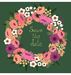 vintage card with floral wreath save date vector image