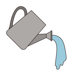 white background with watering can with thick vector image