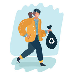 woman holding trash bag recycle concept vector image