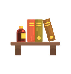 Wooden shelf in laboratory with science literature vector