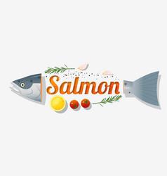 Word salmon design vector