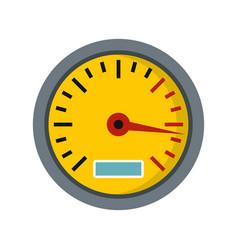 Yellow speedometer icon flat style vector