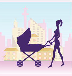 Young woman with baby carriage vector