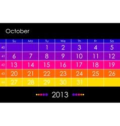 2013 October vector image vector image