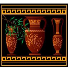 greek red amphoras and jug vector image