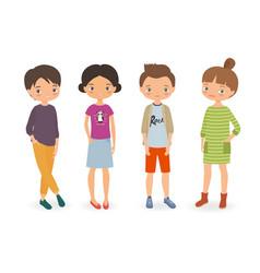 Stylish boys and girls vector