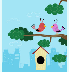 two birds sitting on branch vector image vector image