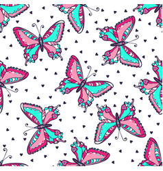 bright butterflies seamless pattern hand drawn vector image