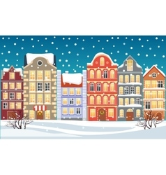 Christmas town Xmas snowy old town vector image