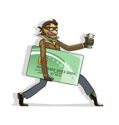 Thief steals credit card and money vector image