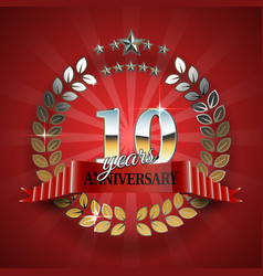 Anniversary 10th gold wreath with red ribbon vector