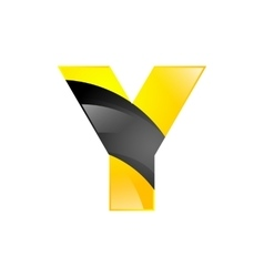 Creative yellow and black symbol letter Y for your vector image vector image