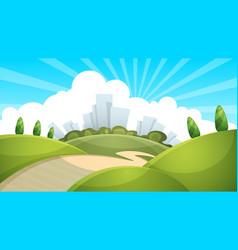 landscape city cloud sun vector image