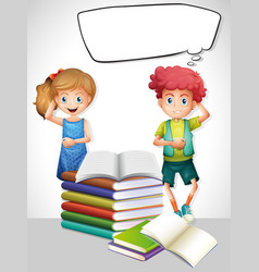 speech bubble template with children and books vector image vector image