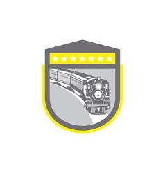 Steam Train Locomotive Retro Shield vector image vector image
